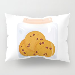 Chocolate chip cookie, homemade biscuit in glass jar Pillow Sham