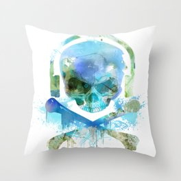 Watercolour Skull & Crossbones with Headphones. Throw Pillow