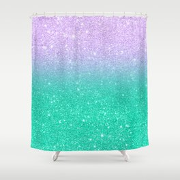 Mermaid purple teal aqua FAUX glitter ombre gradient Shower Curtain