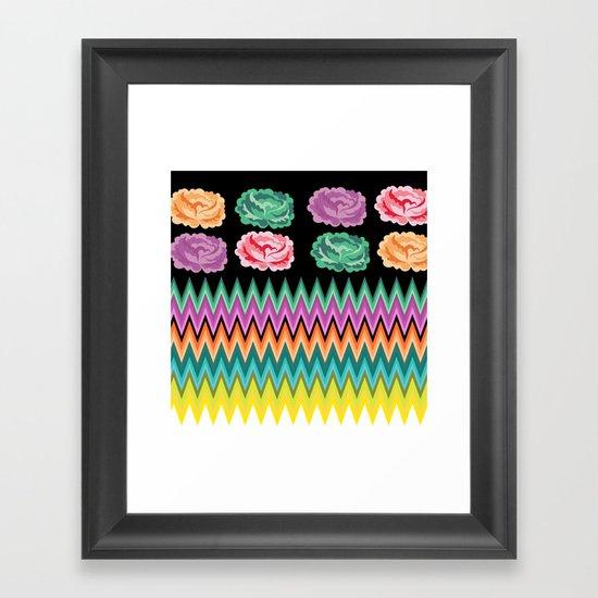 CHEVRON ROSES Framed Art Print