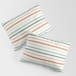 sunset stripes in terra cotta and jade Pillow Sham