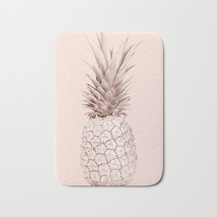 rose gold pineapple on blush pink bath mat by followmeinstead society6