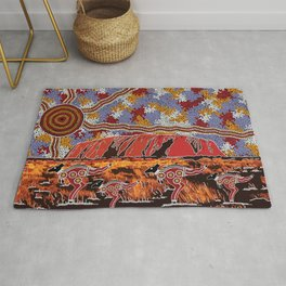 Uluru (Ayers Rock) Authentic Aboriginal Art Rug