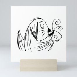 Dog Lovers // Coffee Lovers // Cartoon Golden Retriever Drinking Coffee Mini Art Print