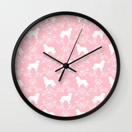 Bernese Mountain Dog florals dog pattern minimal cute gifts for dog lover silhouette pink and white Wall Clock