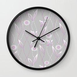 Gray lilac floral pattern . Wall Clock