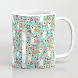 Welsh Corgi floral spring garden nature dog art pet portrait corgis must have gifts for dog person  Coffee Mug