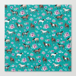 Horse Pattern, Floral Print, Turquoise, Little Girls Room, Horses Canvas Print