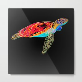 Turtle discovering the Great Barrier Reef Metal Print