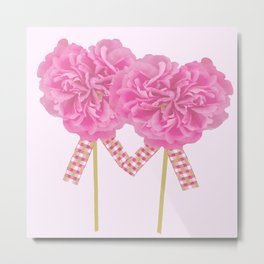 Let's Be Together For Ever - Pink Flowers Light Pink Backgrond #decor #society6 #buyart Metal Print
