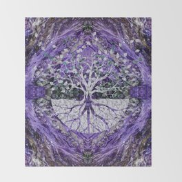 Silver Tree of Life Yggdrasil on Amethyst Geode Throw Blanket