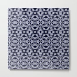 Japanese Yukata Jinbei Asanoha Navy blue Metal Print