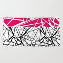 Black and white abstract geometric pattern with red inlay . by fuzzyfox85