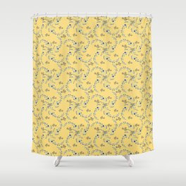 Indian floral in blue for christmas Shower Curtain