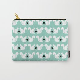 Squirrels pattern print designs minimal mint dots pastel pattern cell phone gift ideas nature  Carry-All Pouch