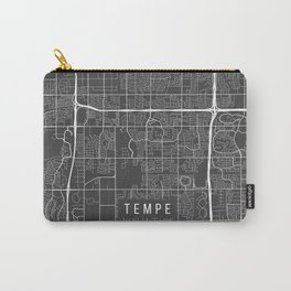 Tempe Map, Arizona USA - Charcoal Portrait Carry-All Pouch