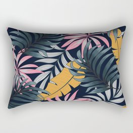 Botanical seamless tropical pattern with bright plants and leaves on a black background. Jungle leaf seamless vector floral pattern background. Beautiful print with hand drawn exotic plants. Rectangular Pillow