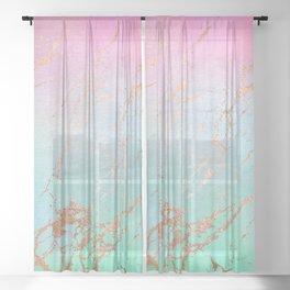 Rainbow Glamour Marble Texture Sheer Curtain