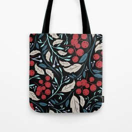 Holiday Holly and Mistletoe Pattern Tote Bag
