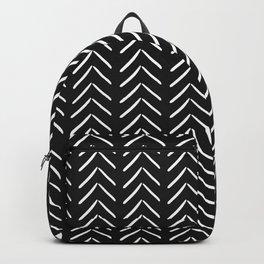 Minimalist White Chevron Pattern on Black Backpack
