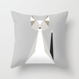 Geometric Cat Throw Pillow