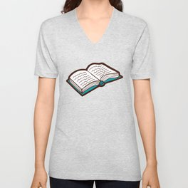 Bookish Reading Pattern in Red Unisex V-Neck