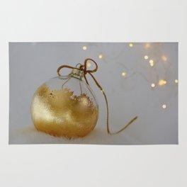 Golden Christmas Ball with Small Lights Rug
