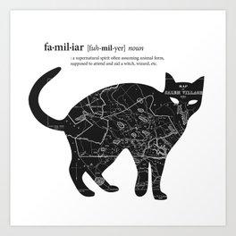 A Familiar Black Cat Art Print