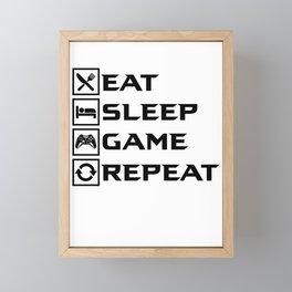 Eat Sleep Game Repeat Framed Mini Art Print