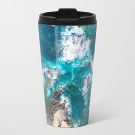 Ocean, deep blue, drone photography, aerial Travel Mug