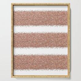Rose gold glitter stripes Serving Tray