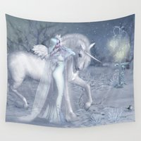 elf Wall Tapestries featuring Winter Elf by Illu-Pic-A.T.Art