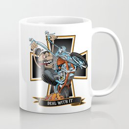 Deal with it -  funny biker riding a chopper, popping a wheelie motorcycle cartoon Coffee Mug