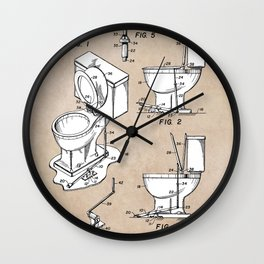 patent art Fields Toilet seat lifter 1967 Wall Clock