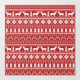 Deer christmas fair isle camping pattern snowflakes minimal winter seasonal holiday gifts Canvas Print