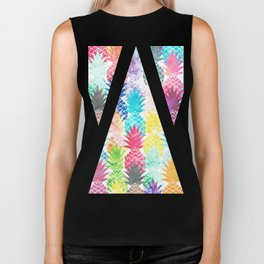 Hawaiian Pineapple Pattern Tropical Watercolor Biker Tank