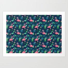 Flamingos & Plumeria Art Print