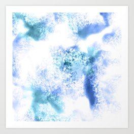 Bright Blue Marble Crystal Watercolor Art Print