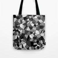 gray pattern Tote Bags featuring Gray Monochrome Mosaic Pattern by Margit Brack