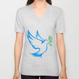 dove symbol draw Unisex V-Neck