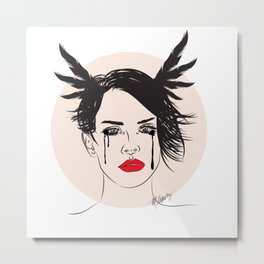 Lana and Her Red Lips - Musically Digital Fan Art Metal Print