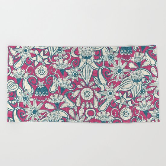 sarilmak pink blue Beach Towel