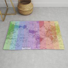 Rainbow World Map II Rug