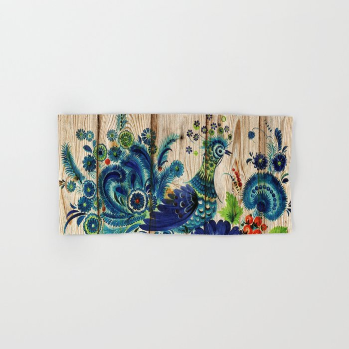 Russian Folk Art on Wood 02 Hand & Bath Towel