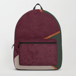 Burgundy Olive Green Gold and Nude Geometric Pattern #society6 #buyart Backpack
