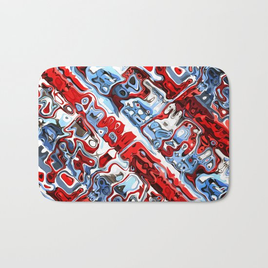Red White And Blue Abstract Bath Mat