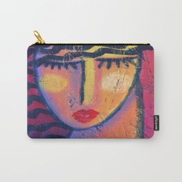 Abstract Portrait on Red Acrylic on OSB Board Carry-All Pouch