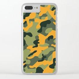 Green & Orange Camo Clear iPhone Case