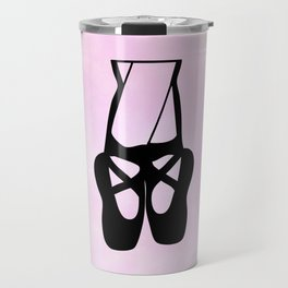 Black Ballet Shoes En Pointe Silhouette on Pink Travel Mug