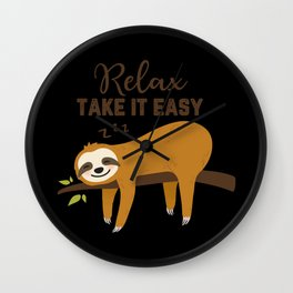 Sloth Relax Relaxing lazing around Wall Clock